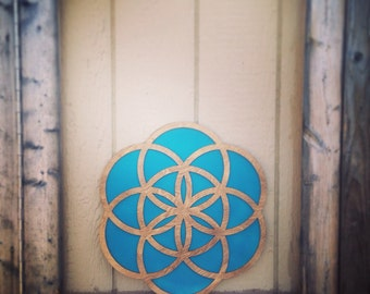 "Large 18"" Wood and Teal Flower of Life Wall Art"