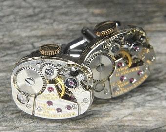 STEAMPUNK Cufflinks Cuff Links - Torch SOLDERED - Vintage Silver BENRUS Watch Movements w  Original Crowns - Wedding, Birthday Gift