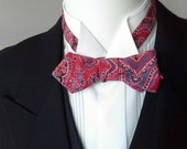 """Bowtie,  mans, paisley - adjustable to collar size 14 to 18 1/2"""" -  self-tie / for men - diamond point"""