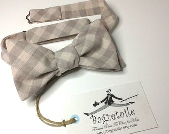 Gingham, Bow Tie - freestyle bowtie, adjustable, self tie - just for men - I am a maker of  mens bowties