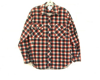 80's PRINTED PLAID FLANNEL shirt vintage man men's long sleeve button up red white blue xL large
