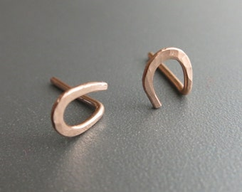 Rose Gold Stud Earrings Tiny Horseshoe Stud Earrings