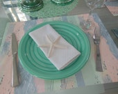 Reversible Placemat Peach Mint Green Blue - Pastel Watercolor Striped Placemat by Pillowscape Designs - Limited Inventory - Only Three Left