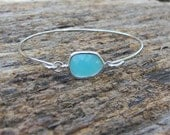 Silver Bangle Bracelet / Aqua Mint Bracelet / Bridesmaid Gift / Bridesmaid Jewelry / Bridesmaid Bracelet / Mother's Day Gift / Bangle