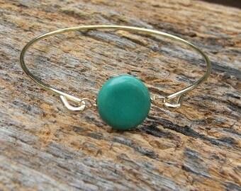 Gold Bangle Bracelet / Turquoise Bracelet / Turquoise Bangle Bracelet /Turquoise and Gold Bracelet / Turquoise and Gold Jewelry / Gift Idea