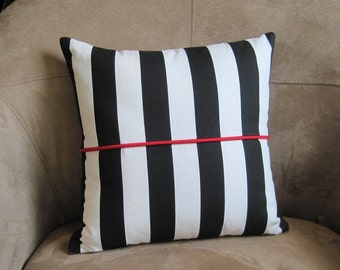 Nautical Pillow Black and White Stripe with Red Accent Pillow Cover