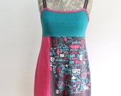 Word Pattern Upcycled Cotton Dress, size 4-6