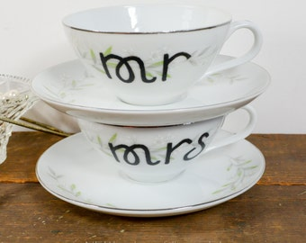 Mr and Mrs tea cups, mr and mrs cup set, hand painted, wedding tea cup, unique tea cup, coffee cups with delicate white flower  pattern