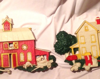 Vintage Red Barn and Farmhouse Wall Hangers Placques
