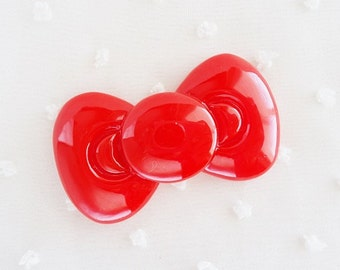 1pc - Large Red Kitty Bow Decoden Cabochon (59x34mm) BL10014