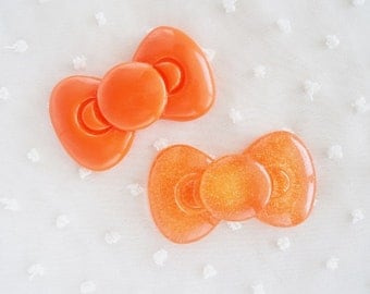 2pcs - Large Orange Kitty Bow Set Decoden Cabochon (58x33mm) BL10016 BL10017