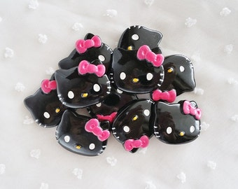 5pcs - Medium Black Kitty with Pink Bow Decoden Cabochon (28x22mm) HKM10010