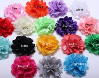 Tiny 2 inch satin mesh flowers - Set of 15 - wholesale diy flower-silk flowers-tulle flowers