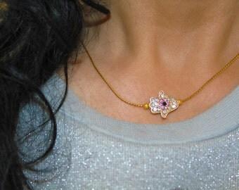 Hamsa Evil eye charm necklace, gold evil eye charm, Hamsa charm necklace, bad eye charm, evil eye