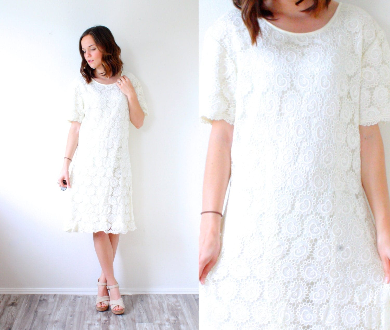 Vintage boho short lace wedding dress // ivory by BeigeVintageCo