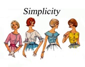 Simple to Make Set of Blouses 1960s Vintage Sewing Pattern Rockbilly Tops Bust 32 Size 12  Simplicity 3928 Wide Collar elbow sleeves