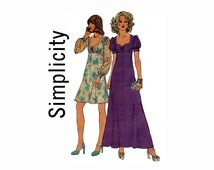 Sweetheart Neckline Dress Size 16 Bust 38 Sewing Pattern UNCUT 1970s Misses Dress in 2 lengths Simplicity 6446