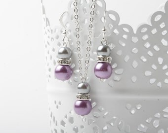 Bridesmaid jewelry set, purple and grey, earrings and necklace, purple and grey wedding jewelry, bridesmaid gift, pearl jewelry set