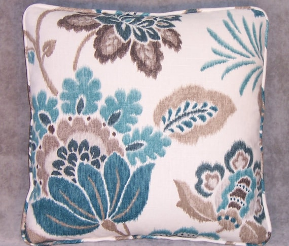 Teal and Brown Linen Floral Throw Pillow 17