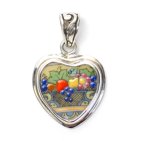 Broken China Jewelry Autumn Fruit Basket Sterling Heart Pendant
