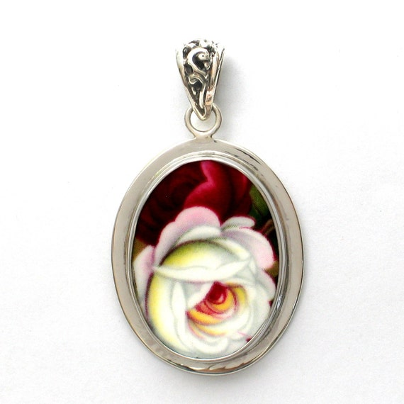 Broken China Jewelry Royal Albert Celebration Pink & White Roses Sterling Oval Pendant