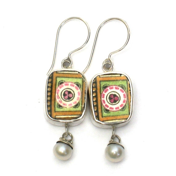 Broken China Jewelry English Johnson Bros Deco Sterling Earrings