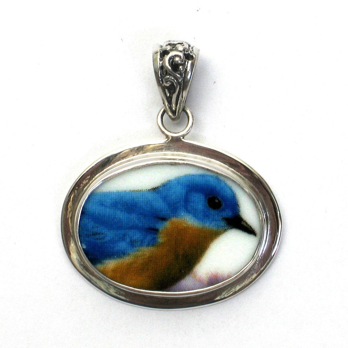 broken china jewelry bluebird blue bird sterling by