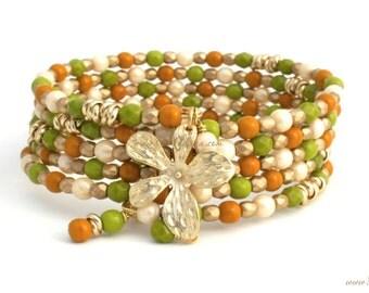 FALL BRACELET, AUTUMN Bracelet, Bangle Charm Bracelet, Beach Jewelry, Gifts for Mom, Bracelet Lover Beaded Wrap Around Bracelet, by Cheydrea
