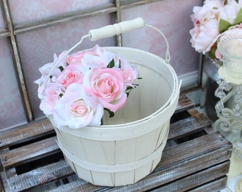 White Flower Girl Basket Rustic Wedding Flower Girl Basket Wood Flower Basket Rustic Chic Wedding Quick Ship
