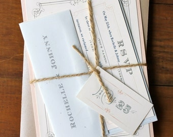 "Pale Peach and Blue Natural Wedding Invitations with Taupe Twine - ""Whimsy Elegance Natural"" Deposit"