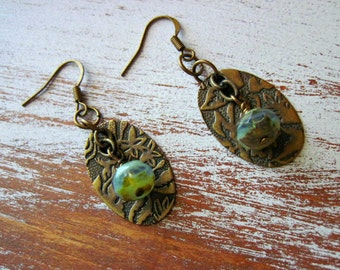 Brass and Jasper Stone Earrings With Brass Stamped Back Plate Floral Woodland Design