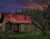 Appalachian Thunder, colorful red blue cabin and dramatic sky, rustic landscape print, wall decor