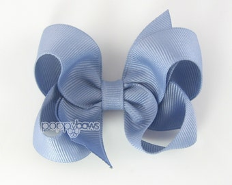 Wisteria 3 Inch Boutique Hair Bow - Baby Toddler Girl - Solid Color Hair Clip - Gray Lavender
