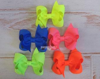 Hair Bow Set - neon hair bows - girls hair bows - baby hair bows - toddler hair bows - 3 inch bows - boutique bows - neon hair barrettes