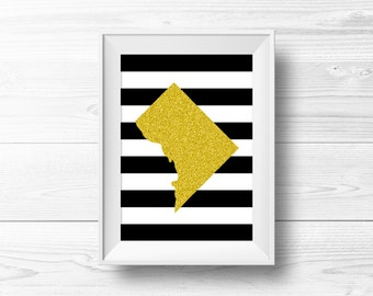 Washington DC Wall Art -- Black & Gold Glitter, Silhouette, Modern Decor, Home State, District of Columbia, Printable, Instant Download