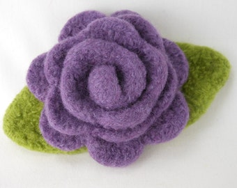 Felted Wool Rose Flower Brooch in Lavender with Green Leaves