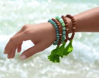 Boho Tassel Bracelet Set Boho Bracelet Tassel Bracelet Beach Boho Beaded Bracelet Wood Tassel Bracelet Yoga Stackable Bracelet Boho Jewelry