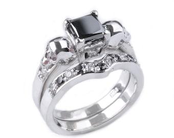 Custom 14K White Gold Princess Cut Black Diamond and Skull Wedding Ring and Shadow Ring Set