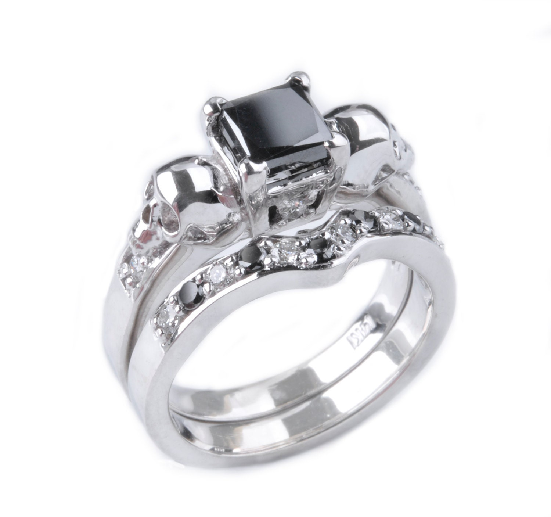 skull wedding ring and shadow ring set zoom - Skull Wedding Ring Sets