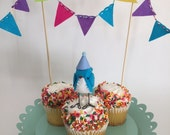 Mini Birthday Bird with Bunting : Blue - MADE TO ORDER!