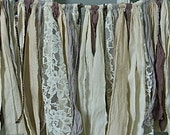 one of a kind rag banner, fabric garland, dusty plum, muted lilac, hand dyed wall hanging, rag fabric valence, 27 X 11