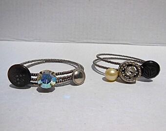 button bracelet, boho beaded bangle, layering bangles, one size fits most