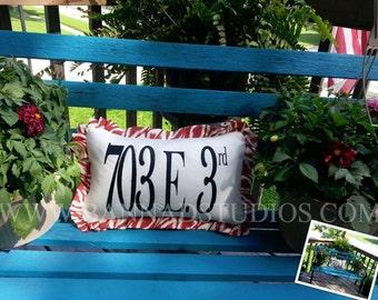 "Address Pillow, Your choice 14"" x 20"" or 16"" x 16"", Outdoor Porch Pillow, Bench Pillow, Accent Pillow"