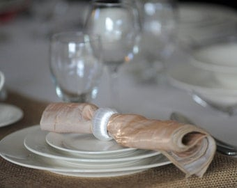 Set of 12 Pearl White Wedding Napkin Rings for Rustic Wedding Table Decor, Sweetheart Table