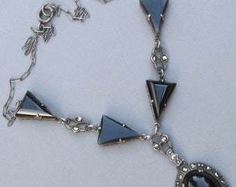 Antique Sterling Silver Black Onyx Art Deco Necklace Marcasite Jewelry Circa 1930