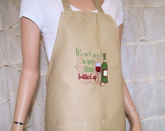 It's Not Good to Keep Things Bottled Up - Embroidered Logo Pocket Chef Apron MTCoffinz - Choose Color