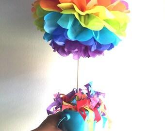 Rainbow topiary pom pom, table centerpieces, rainbow pom poms, paper party decor, 1st birthday decorations, poms on a stick