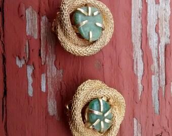 Vintage BSK clip on Earrings with Jade stones