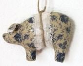 Set of 3 Civil War Fabric Pig Ornaments, Hanging Ornament Set, Blue Rose Pigs,  Pig Ornaments, Shabby Cottage Chic, Pig Bowl Filler