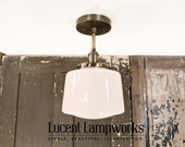 Downrod Pendant Light with Opal Taper Globe Drum Style Shade